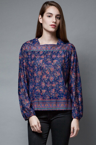 vintage 70s boho top ethnic pleated hippie blouse navy paisley floral