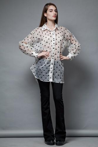 unworn vintage 80s sheer top polka dot blouse black white oversized plus size ONE SIZE