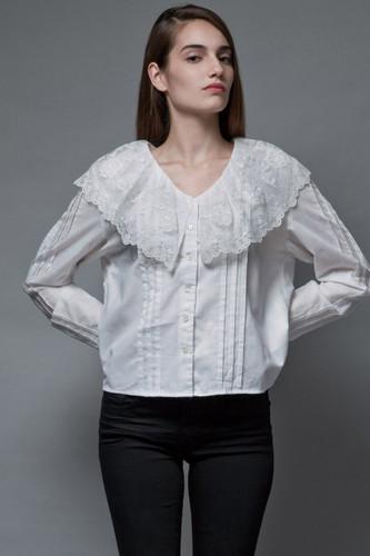 vintage 70s white gauzy cotton top lace collar blouse prairie long sleeves XL 1X