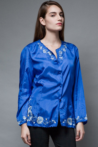 vintage blue top floral embroidery blouse intricate scalloped trims XL 1X