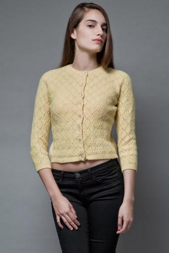 vintage 50s yellow knit wool sweater diamond eyelet S M