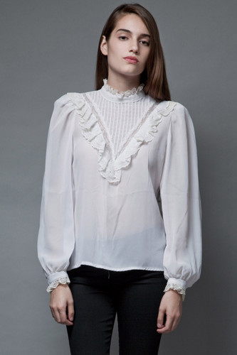 vintage 70s sheer white blouse victorian inspired bib lace top M