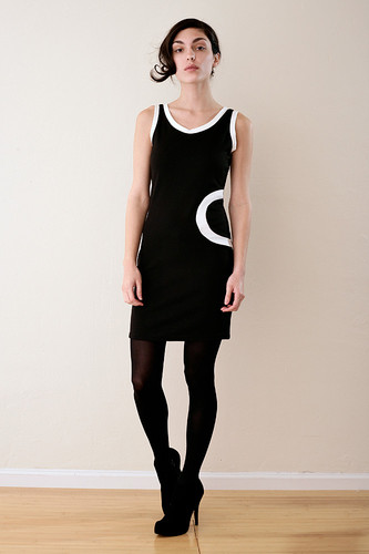 Graphic Stretchy Black Tank Dress XS S M L
