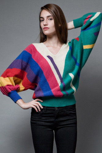 vintage 80s batwing sweater colorful stripes geometric knit ONE SIZE