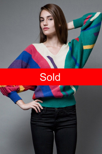 vintage 80s batwing sweater colorful stripes geometric knit ONE SIZE  :