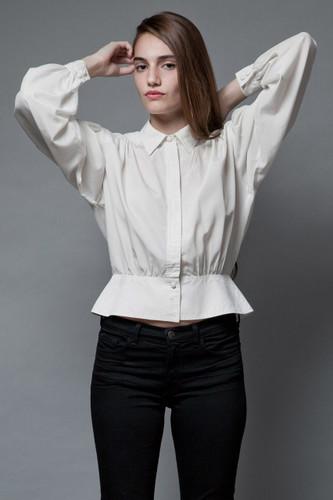 vintage 80s peplum top white blouse long sleeves M L