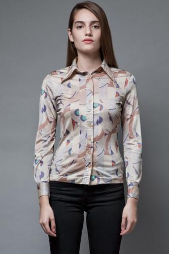 vintage 70s slinky disco nylon top geometric abstract pointy collar XS S
