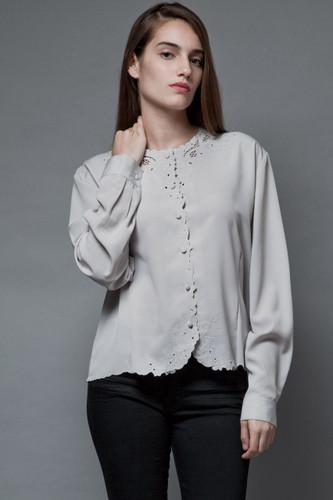 vintage 70s feminine blouse top light gray floral embroidery eyelet XL 1X
