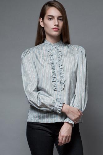 vintage 70s tuxedo shirt top blouse blue floral stripes ruffles S M