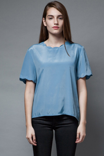 vintage slinky secretary top blouse scalloped edges smoke blue S M