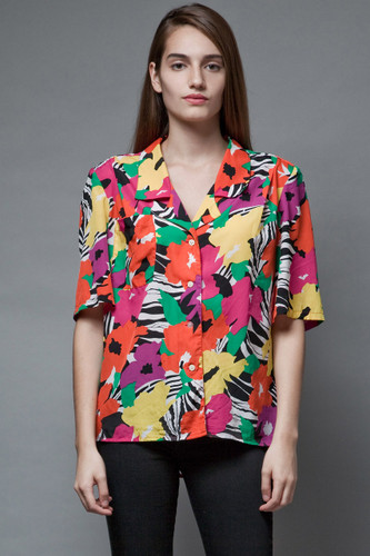 vintage 80s colorful blouse tropical top red pink slinky soft XL 1X