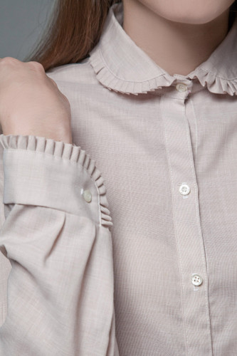 vintage 70s chambray cotton top blouse pleated Peter Pan collar S M