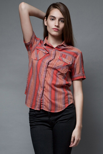 vintage 70s striped top red pockets metallic short sleeves S M