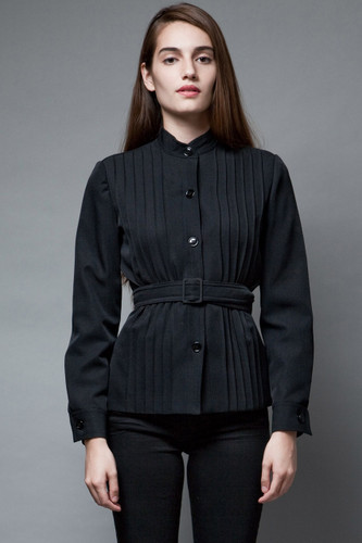 vintage 70s structured belted top blouse black pintuck long sleeves S