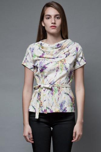 vintage 70s belted top paint splatter print cowl neck short sleeves S M