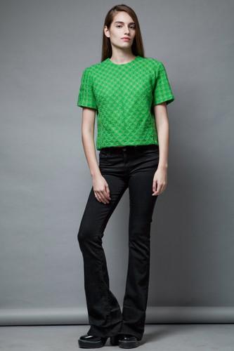vintage 50s tweed top blouse green textured short sleeves L