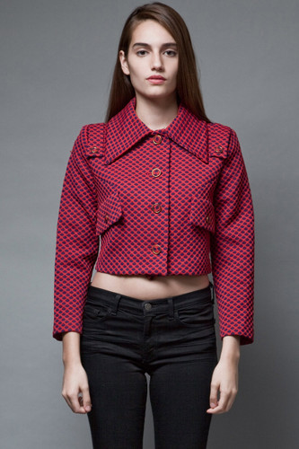 vintage 60s mod crop top blouse jacket textured red navy boxy M  :