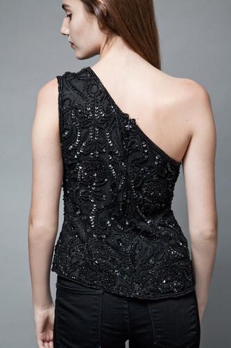 vintage black trophy top beaded sequinned one shoulder 100% silk S