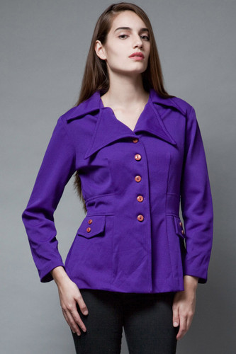 vintage 70s purple jacket top pointy notched collar large buttons L