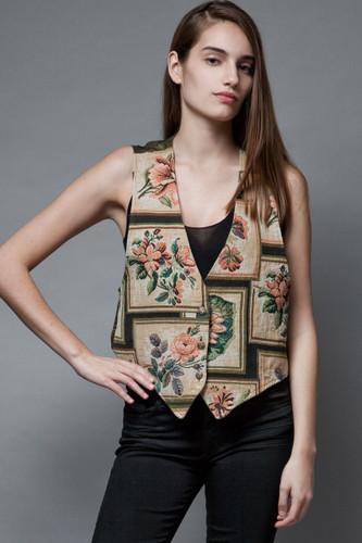 vintage 90s vest floral rose frame tapestry tan green M