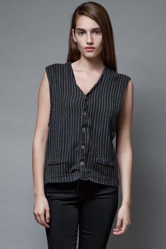 vintage 90s pinstripe vest top black 100% cotton soft L