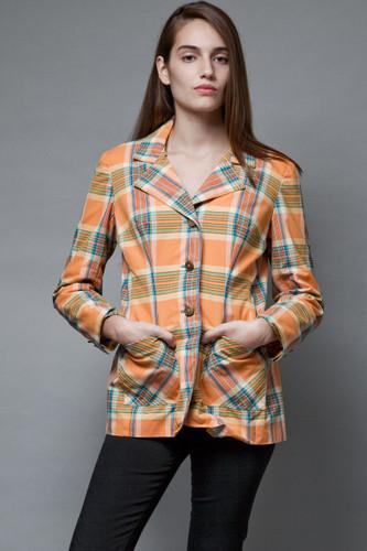 vintage 1970s plaid blazer jacket cotton orange gold buttons M L