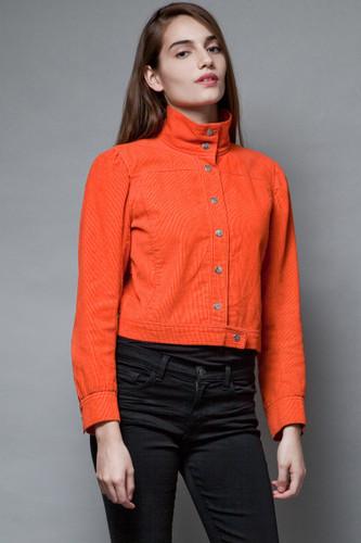 Courreges vintage 70s corduroy jacket crop bright orange 100% cotton M L  :