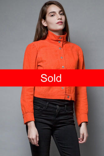 Courreges vintage 70s corduroy jacket crop bright orange 100% cotton M L  :