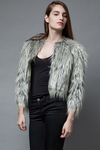 vintage 1950s faux fur jacket coat silver black boxy M