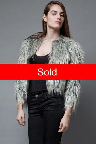 vintage 1950s faux fur jacket coat silver black boxy M  :