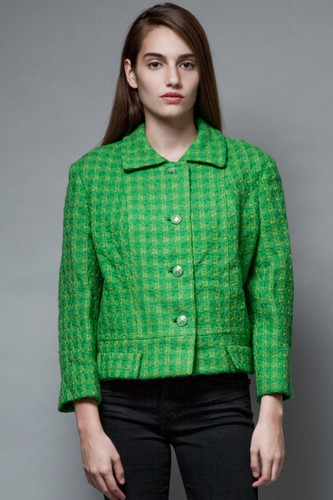 vintage 50s tweed jacket coat green Jackie O boxy square chinese character buttons XL 1X  :
