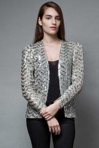 vintage 80s sequin evening jacket party sequins sheer sequinned top M
