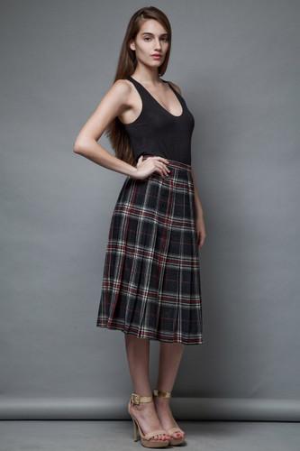 Pendleton wool skirt collegiate vintage 1970s pleated skirt plaid black S M  :