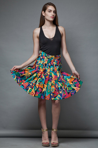 vintage 80s pleated skirt colorful printed cotton Italy M