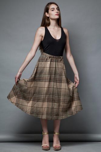 vintage 70s plaid wool skirt tan khaki midi a-line S M  :