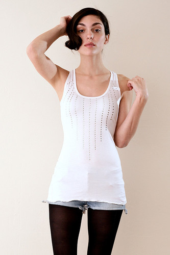 Slinky White Studded Long Tank XS S M L