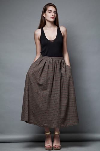 vintage 80s maxi wool skirt full skirt pleated houndstooth khaki M L  :