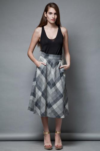 unworn preppy collegiate vintage 70s plaid wool skirt gray white a-line midi M  :