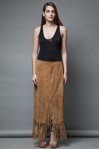 boho festival vintage 80s suede leather skirt fringes tan long fringed skirt maxi L XL