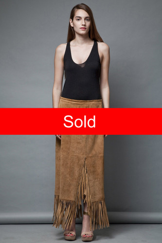 boho festival vintage 80s suede leather skirt fringes tan long fringed skirt maxi L XL  :