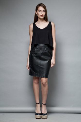 black pencil leather skirt vintage 80s high waist S  :
