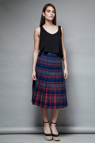 Pendleton pleated wool skirt plaid contrasting navy red flaws vintage 70s S