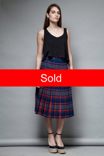 Pendleton pleated wool skirt plaid contrasting navy red flaws vintage 70s S  :