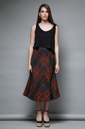 plaid wool skirt a-line vintage 1970s midi preppy collegiate brown M  :