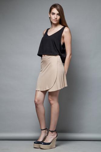 vintage 90s nude wrap mini skirt slinky ballerina beige ONE SIZE  :