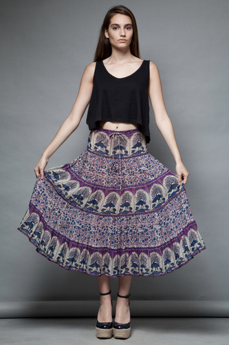 boho hippie bohemian broomstick skirt vintage 70s Indian gauze cotton peacock purple ONE SIZE  :