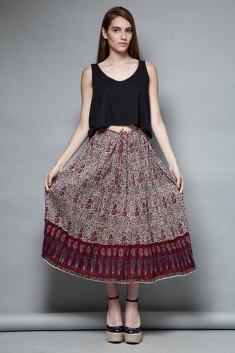 bohemian skirt boho hippie broomstick cotton gauzy crinkle Indian burgundy ONE SIZE