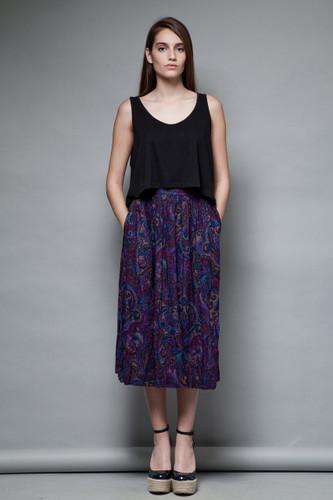 vintage 80s rayon pocket skirt purple paisley print gathered M