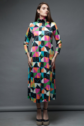 vintage 70s op art space age house maxi dress turtle neck long sleeves ONE SIZE