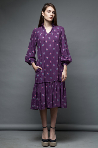 vintage 70s boho dress Henri Bendel purple rose ruffles soft rayon ONE SIZE